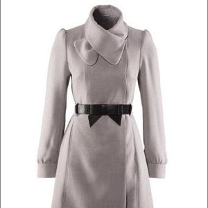 H&M Light Gray Trench Coat with Bow Belt